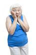 Disbelief senior woman portrait