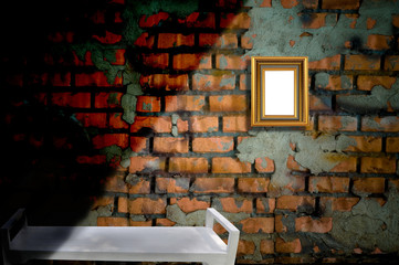 picture frame on the old brick wall