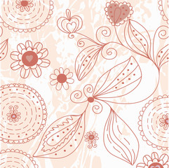 Grunge floral background with hearts