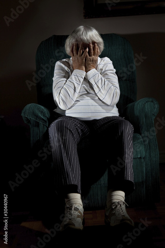Stressed senior woman