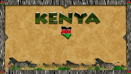 Background with zebra skin border for Kenya