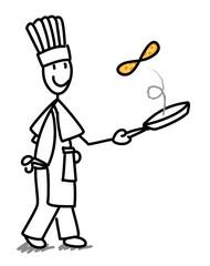 Cuisinier faisant sauter une crêpe