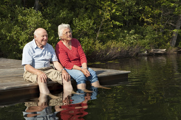 Senior couple enjoying a day at the lake