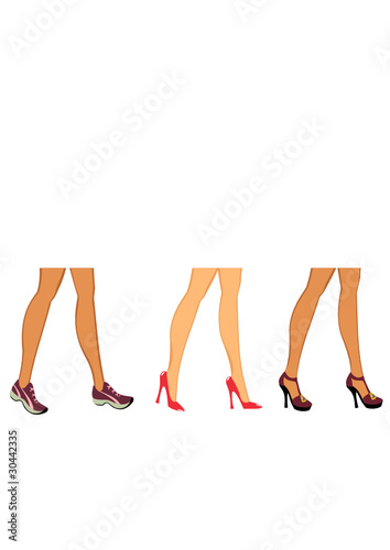 female feet in different shoes.