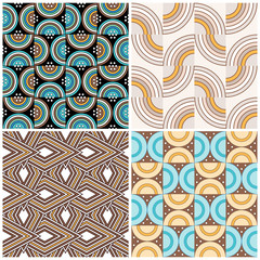 Set of four funky retro seamless patterns