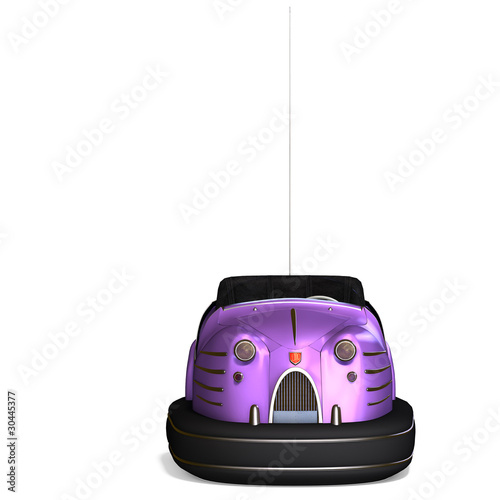 a colorful bumper car from the amusement park. 3D rendering