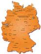 Deutschland Übersichtskarte orange