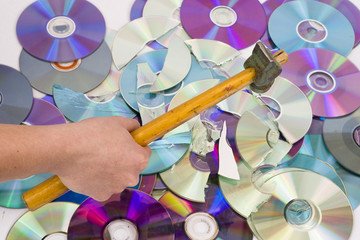 Hand beating out cd