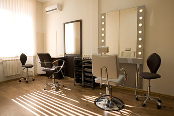 Modern salon make-up artist and hairdresser