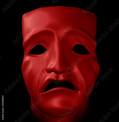 figure with tragedy mask 3d illustration