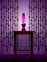 Lavalamp and beaded curtains