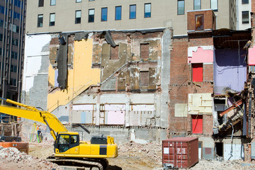 Building Demolition Underway Heavy Equipment DC