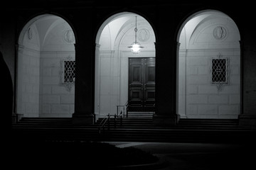 Building Arches Groin Vaults at Night Black White