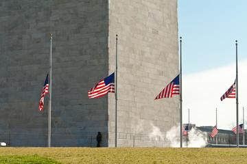 Washington Monument Surrounded Flags Half Mast DC
