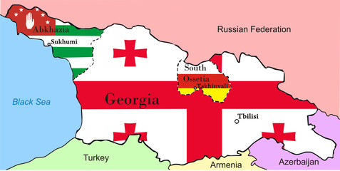 Georgia map with Abkhazia and South Ossetia
