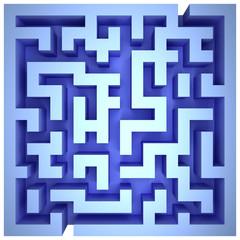 A maze of blue walls