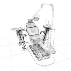 sedia poltrona dentista illustrazione 3d