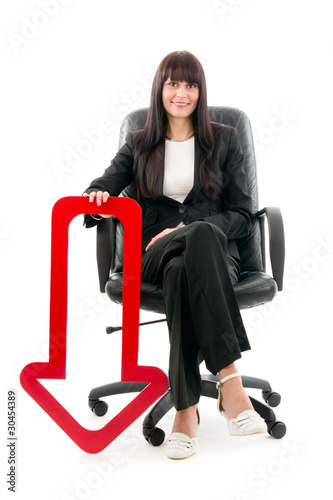 Businesswoman with red arrow