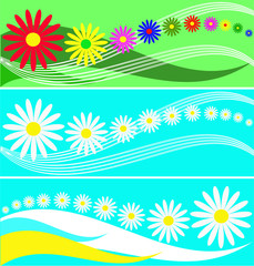 Set of banners from flowers and wavy lines.