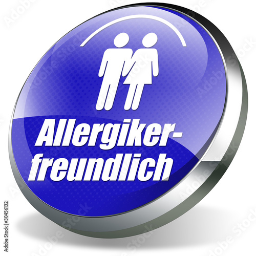 allergikerfreundlich button icon allergie blau weiß 3d