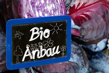 Tafel mit Kreide Schrift Bio Anbau und Zeichnungen