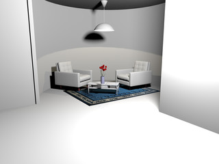 Rounded living space-3d rendering