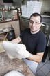 Pizza chef kneading dough