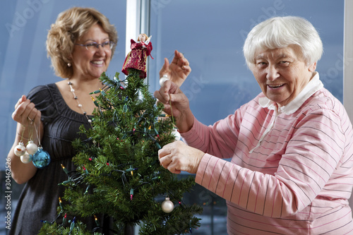 Volunteer helping senior decorate her Christmas Tree
