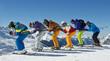 Gruppe Skifahrer – los geht's!
