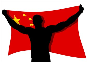 Vector illustration of a man figure carrying flag_China