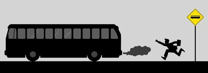 Vector illusration of a man chasing the bus