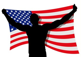 Vector illustration of a man figure carrying flag_USA