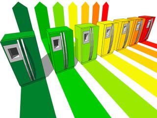 seven refrigerators certified in seven energetic classes