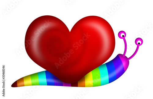 Leinwanddruck Bild Abstract Snail with Heart Shape Shell and Rainbow Colors