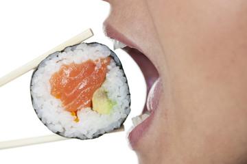 Frau mit Sushi