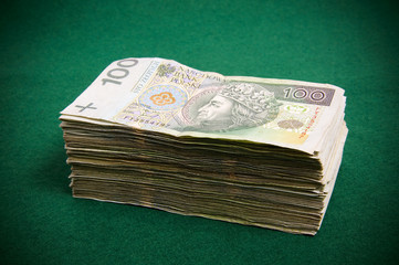 Stack of hundret zloty bills