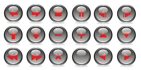 Красно-серые круглые глянцевые кнопки