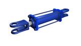 blue hydraulic cylinder poster