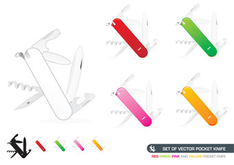 Set Of Vector Pocket Knife