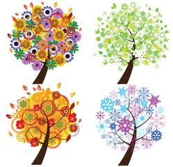 vector four season trees