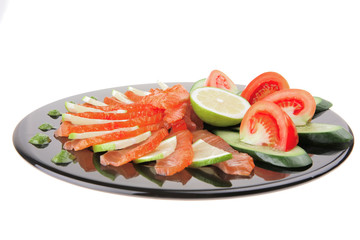 smoked salmon and vegetables