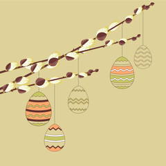 Pussy willow branches with hanging easter eggs