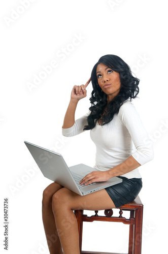 Woman with laptop pointing finger on head