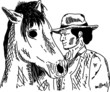 horse with cowboy