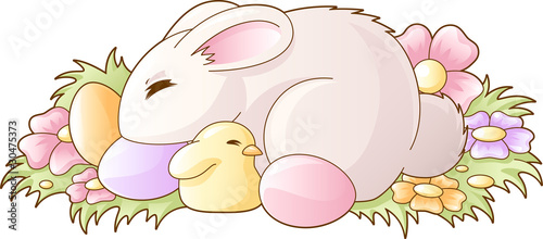 Easter sleeping bunny and chicken