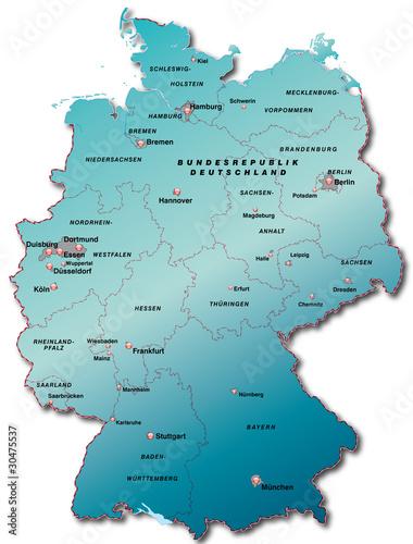 Deutschland Übersichtskarte petrol 40cm x 52cm