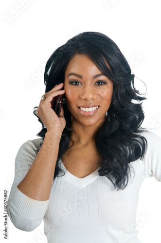 African American Woman talking on the phone
