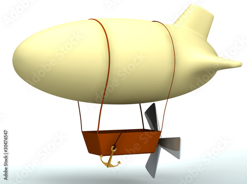 3d cartoon dirigible balloon