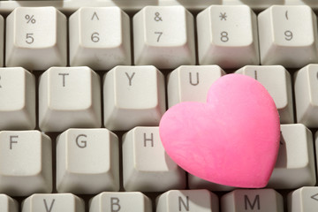 pink heart on the keyboard