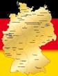 Deutschland Übersichtskarte gold 40cm x 52cm